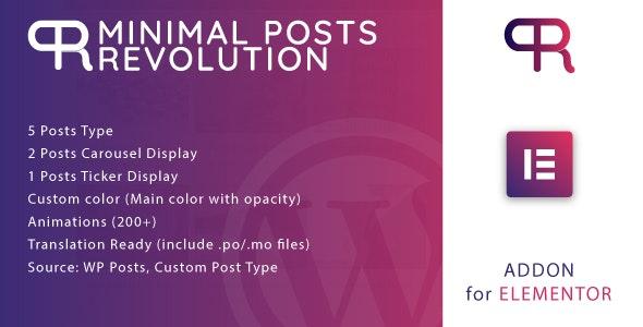 Minimal Posts Revolution For Elementor WordPress Plugin v1.0