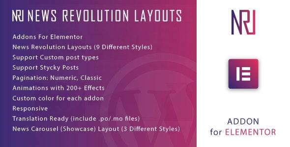 News Revolution Layouts for Elementor WordPress Plugin v1.0