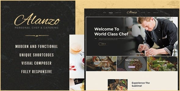 Alanzo 1.0.4 – Personal Chef & Wedding Catering Event WordPress Theme