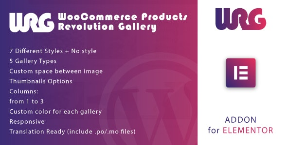 Woocommerce Products Revolution Gallery for Elementor WordPress Plugin v1.0