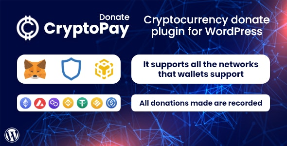 CryptoPay Donate 1.0.1 – Cryptocurrency donate plugin for WordPress