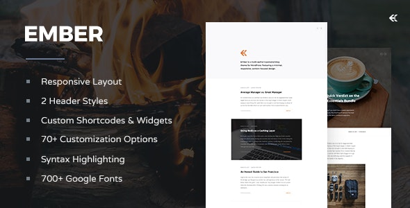 Ember 3.4.0 – Responsive WordPress Blog Theme