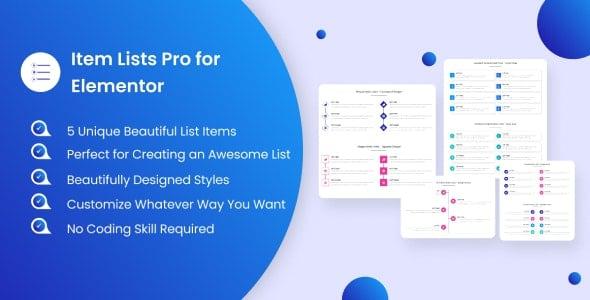 Item Lists Pro for Elementor v1.0