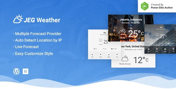 Jeg Weather 1.0.2 – Forecast WordPress Plugin – Add Ons for Elementor and WPBakery Page Builder
