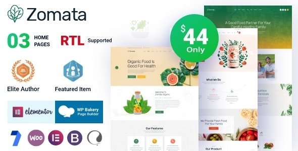 Zomata 1.0.8 – Organic Food WordPress Theme + RTL